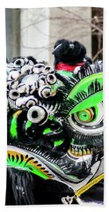 Chinese Green And Black Lion Dancer Beach Towel