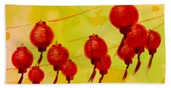 Beach Towel featuring the painting Chinese Lanterns by Maria Langgle
