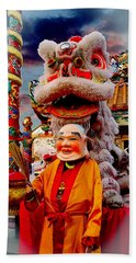 Chinese Lion And The Lion Master Beach Towel