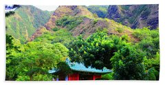 Beach Towel featuring the photograph Chinese Pagoda In Maui by Michael Rucker