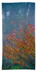 Chinese Red Maple Leaf Tree Beach Towel