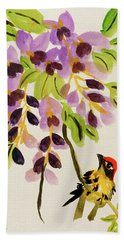Chinese Wisteria With Warbler Bird Beach Towel