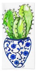 Chinoiserie Cactus No3 Beach Towel