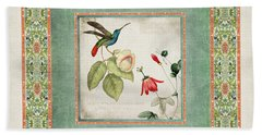Chinoiserie Vintage Hummingbirds N Flowers 2 Beach Towel