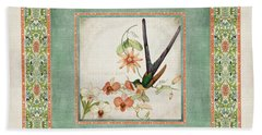 Chinoiserie Vintage Hummingbirds N Flowers 3 Beach Towel