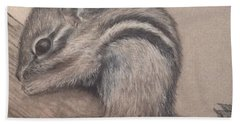 Beach Towel featuring the drawing Chipmunk, Tn Wildlife Series by Annamarie Sidella-Felts