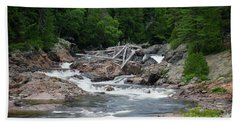 Beach Towel featuring the photograph Chippewa Falls And River by Rachel Cohen