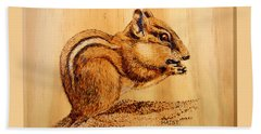 Beach Sheet featuring the pyrography Chippies Lunch by Ron Haist