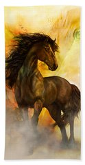 Beach Towel featuring the painting Chitto Black Spirit Horse by Shanina Conway