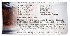 Chocolate Cake Recipe Beach Towel