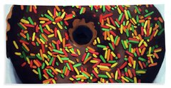 Chocolate Donut And Sprinkles Large Painting Beach Towel