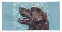Chocolate Labrador Retriever Beach Sheet by Lee Ann Shepard