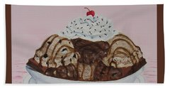 Beach Towel featuring the painting Chocolatey Brownie Sundae by Nancy Nale