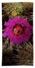 Cholla Cactus Blossom-signed-#3325 Beach Towel