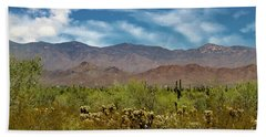 Cholla Saguaro And The Mountains Beach Towel by Anne Rodkin