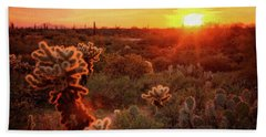 Beach Sheet featuring the photograph Cholla Sunset In The Sonoran  by Saija Lehtonen