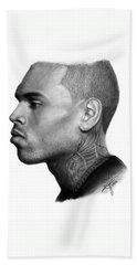 Chris Brown Drawing By Sofia Furniel Beach Towel