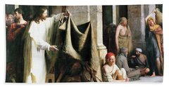 Christ Christ And The Man At The Healing Wel Beach Sheet by Carl Heinrich Bloch