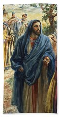 Christ With His Disciples Beach Towel