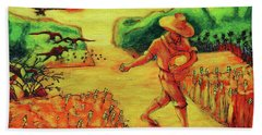 Beach Towel featuring the painting Christian Art Parable Of The Sower Artwork T Bertram Poole by Thomas Bertram POOLE