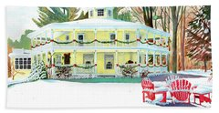Beach Sheet featuring the painting Christmas At The Hexagon House by LeAnne Sowa