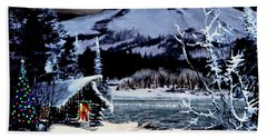 Christmas At The Lake V2 Beach Towel by Ron Chambers