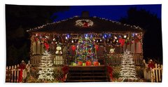 Beach Towel featuring the photograph Christmas At The Lighthouse Gazebo by Greg Graham