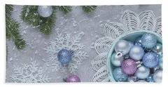 Beach Towel featuring the photograph Christmas Baubles And Snowflakes by Kim Hojnacki