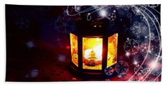 Beach Towel featuring the photograph Christmas Candles by Annie Zeno