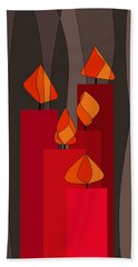 Five Red Candles Beach Towel