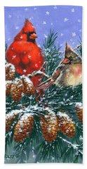 Christmas Cardinals #1 Beach Towel