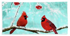 Beach Towel featuring the painting Christmas Cardinals by Leslie Allen