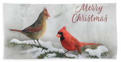 Christmas Cardinals Beach Towel by Lori Deiter