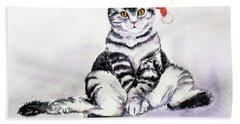 Christmas Cat Beach Towel