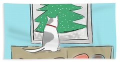 Christmas Cat Beach Towel by Haleh Mahbod