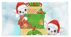 Beach Towel featuring the painting Christmas Chi Elves by Catia Lee
