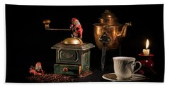 Beach Towel featuring the photograph Christmas Coffee-time by Torbjorn Swenelius