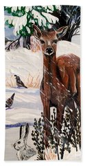Beach Sheet featuring the painting Christmas Deer Friends by Jennifer Lake