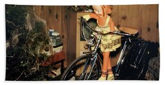 Christmas Doll And Bicycle, 1950's Beach Towel by Wernher Krutein