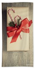 Christmas Gift With Candy Canes Beach Towel