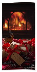 Christmas Gifts By The Fire Beach Towel