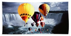 Christmas Gifts Over Niagara Beach Towel by Art America Gallery Peter Potter