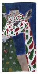 Beach Towel featuring the painting Christmas Giraffe by Jamie Frier