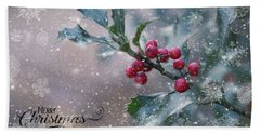 Christmas Holly Beach Towel