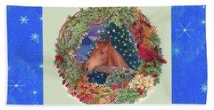 Christmas Horse And Holiday Wreath Beach Sheet