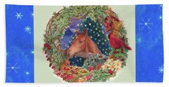 Christmas Horse And Holiday Wreath Beach Towel