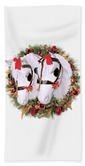 Beach Towel featuring the painting  Snowflake And Holly by Valerie Anne Kelly