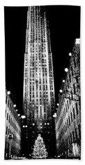 Christmas In New York City Beach Sheet by Carol F Austin
