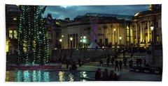 Christmas In Trafalgar Square, London 2 Beach Towel