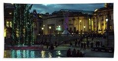 Christmas In Trafalgar Square, London 2 Beach Sheet